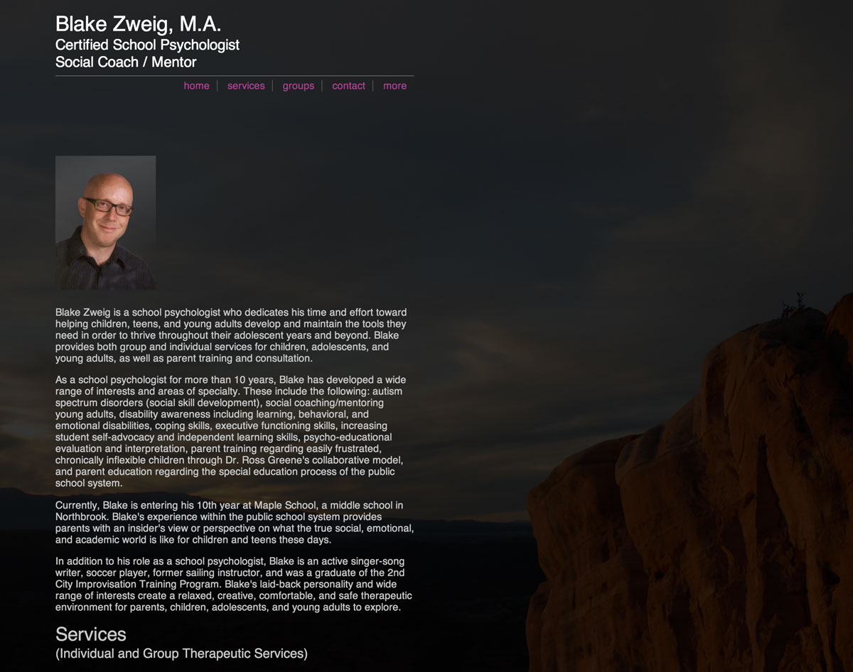 a peek at Blake Zweig's website