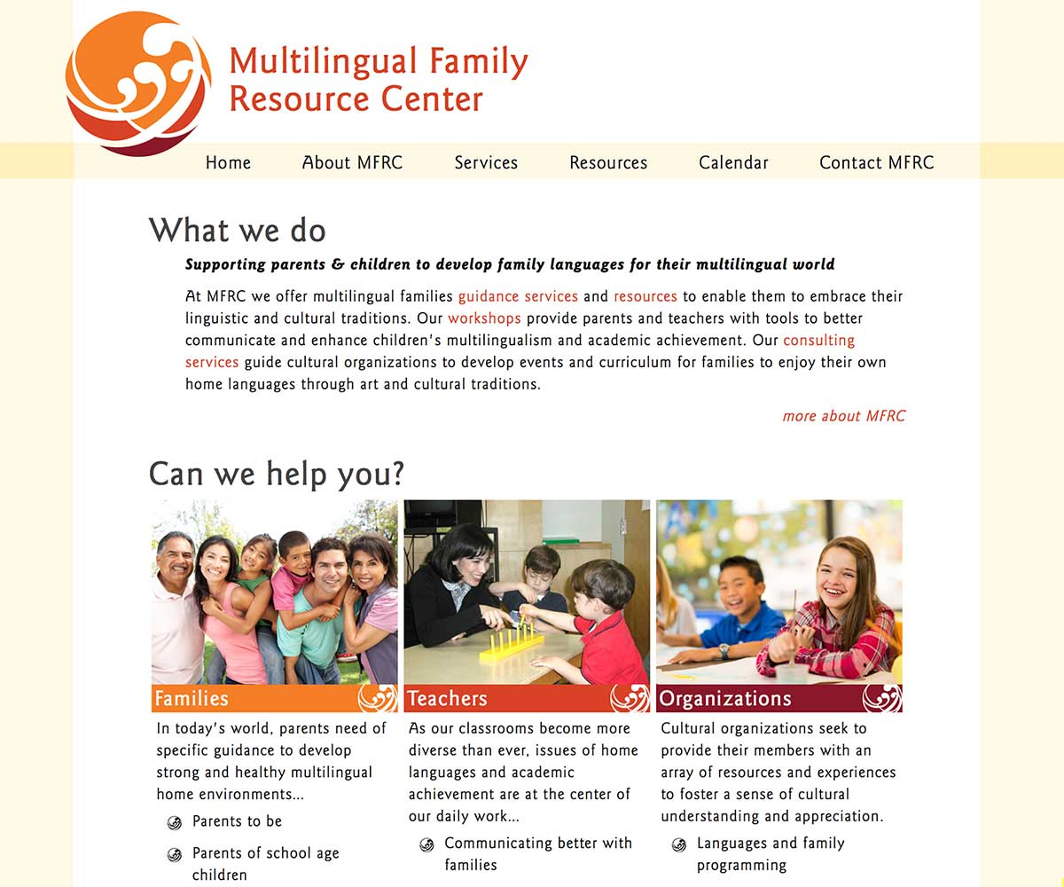 Multilingual Family Resource Center website
