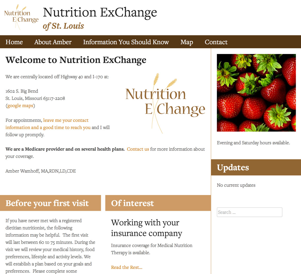 a snapshot of Nutrition ExChange's website