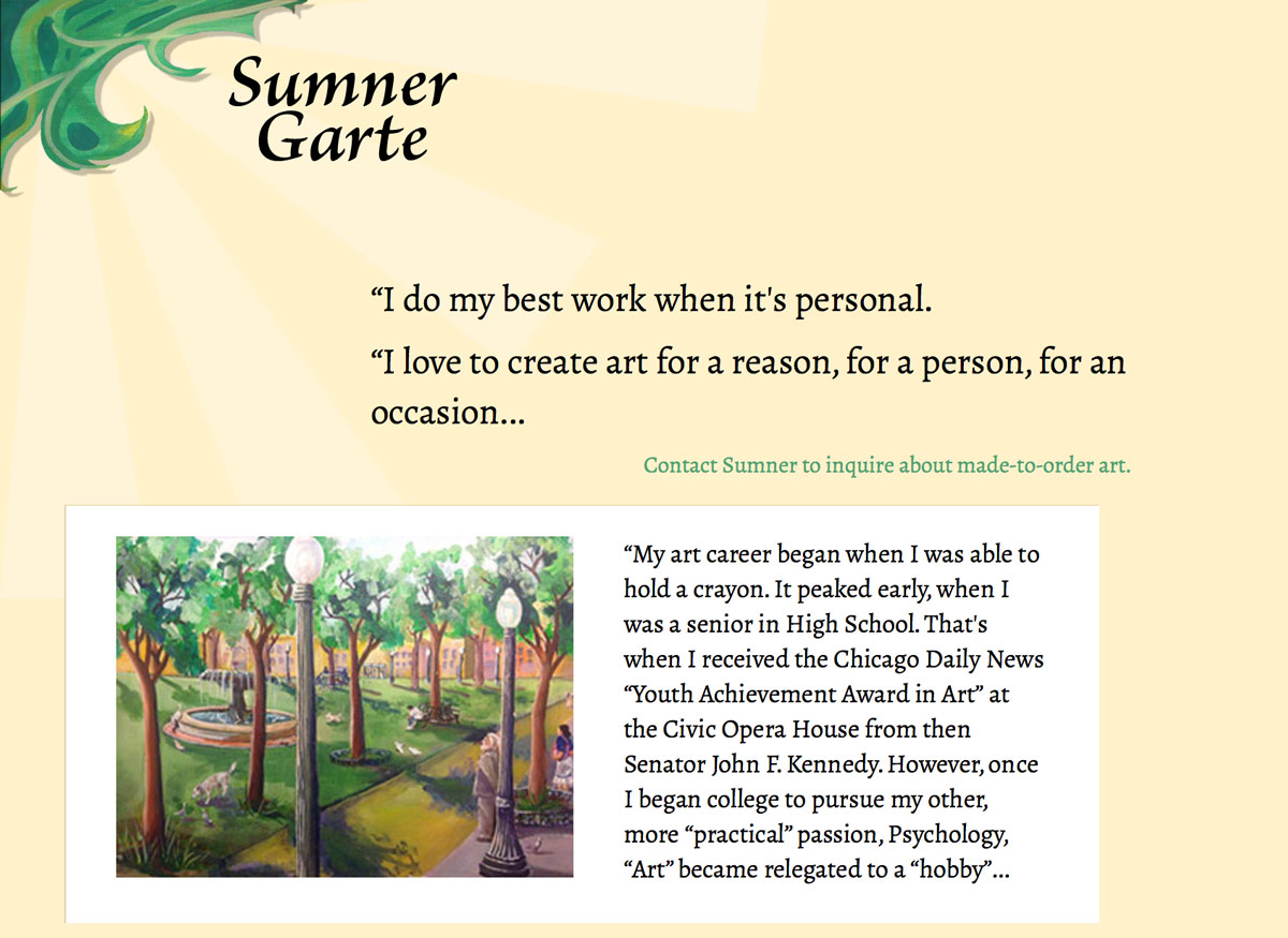 Sumner Garte's website on a large screen